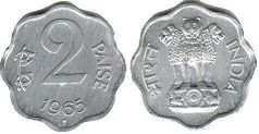 coin India 2 paise 1965