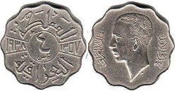 coin Iraq 4 fils 1938