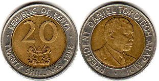 coin Kenya 20 shillings 1998