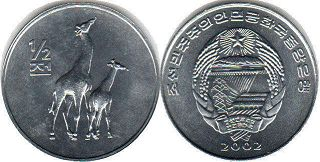 coin North Korea 1/2 chon 2002