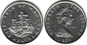 coin Isle of Man 5 new pence 1975