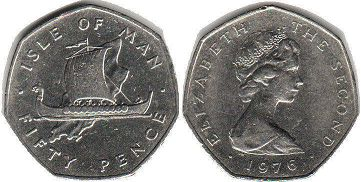 coin Isle of Man 50 pence 1976