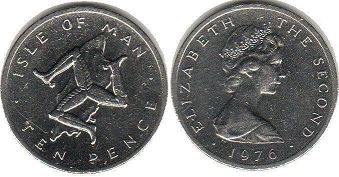 coin Isle of Man 10 pence 1976