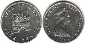 coin Isle of Man 5 pence 1976