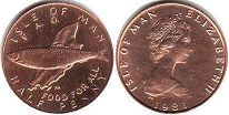 coin Isle of Man 1/2 penny 1991