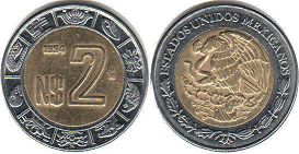 moneda Mexico 2 pesos 1994