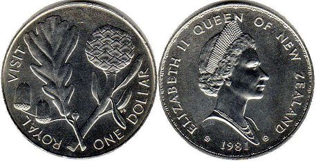 coin New Zealand 1 dollar 1981