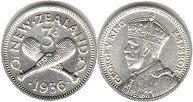 coin New Zealand 3 pence 1936