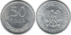 coin Poland 50 groszy 1957