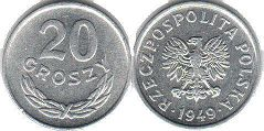 coin Poland 20 groszy 1949