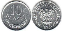coin Poland 10 groszy 1976