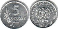 coin Poland 5 groszy 1958