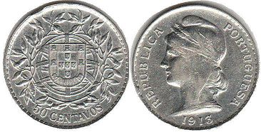 coin Portugal 50 centavos 1913