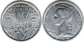 coin Reunion 1francs 1964