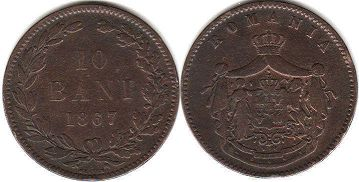 coin Romania 10 bani 1867