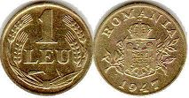 coin Romania 1 leu 1947