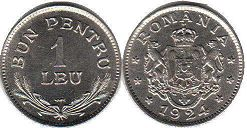 coin Romania 1 leu 1924
