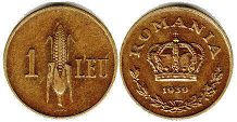 coin Romania 1 leu 1939