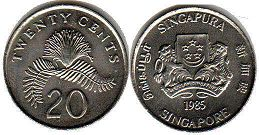 coin singapore20 cents 1985