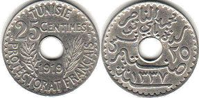 piece Tunisia 25 centimes 1919