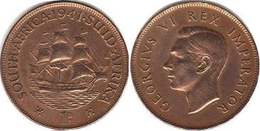 old coin South Africa 1 penny 1941