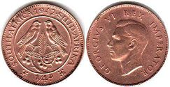 old coin South Africa 1/4 penny 1942