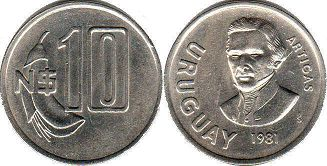 coin Ururuay 10 new pesos 1981