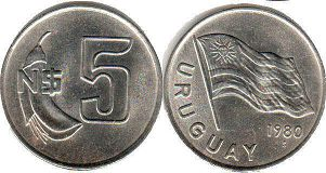 coin Ururuay 5 new pesos 1980