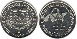piece West African States 50 francs 2010