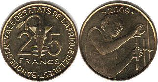 piece West African States 25 francs 2009