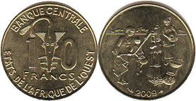 piece West African States 10 francs 2009