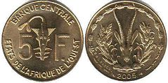 piece West African States 5 francs 2005