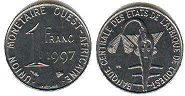 coin West African States 1 franc 1997