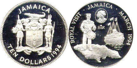 coin Jamaica 10 dollars 1994
