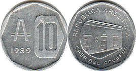 coin Argentina 10 australes 1989