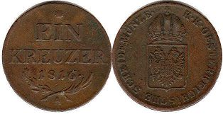 coin Austrian Empire 1 kreuzer 1816