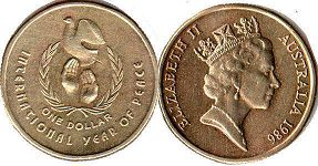 australian commemmorative coin 1 dollar 1986