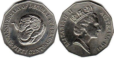australian commemmorative coin 50 cents 1991