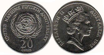 australian commemmorative coin 20 cents 1995