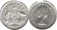 australia nsilver coin 6 pence 1962