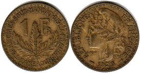 coin Cameroon 1 franc 1925