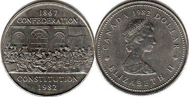 coin canadian commemorative coin 1 dollar 1982