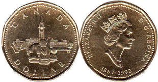 coin canadian commemorative coin 1 dollar 1992