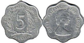 coin Eastern Caribbean States 5 cents 1995