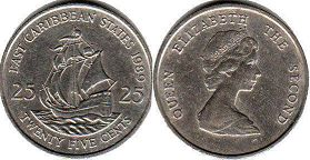 coin Eastern Caribbean States 25 cents 1989