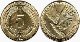 moneda Chille 5 centesimos 1970