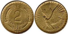 moneda Chille 2 centesimos 1970
