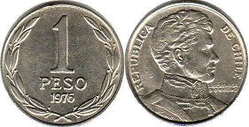 moneda Chilli 1 peso 1976