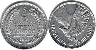moneda Chile 5 pesos 1956