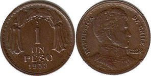 moneda Chile 1 peso 1953